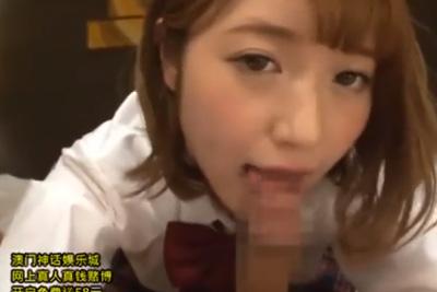クソエロい顔でフェラする激カワ女子校生と円光ハメ撮り!射精ザーメンをプライベート制服で拭いたったww