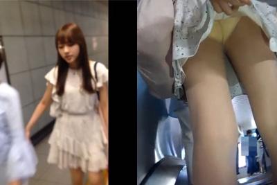 《盗撮》清楚な雰囲気の私服女子校生のスカートめくってパンツ盗撮ww