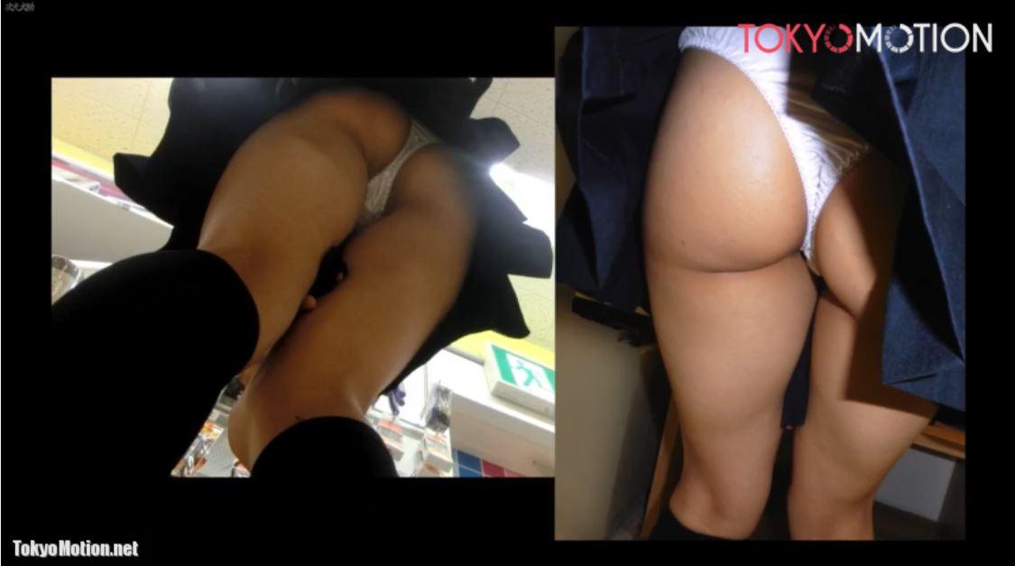 《女子校生スカートめくり&逆さ盗撮①》お買い物中の制服JKのパンティをスマホフラッシュ撮影♪